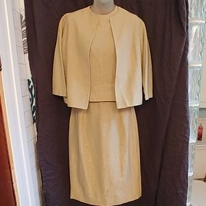 Vintage 50s 60s Three Piece Gold Holiday Suit Set